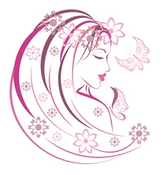 Floral girl5 vector
