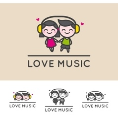 Minimalistic girl and boy in headphones vector