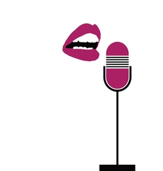 Microphone with lips sing vector