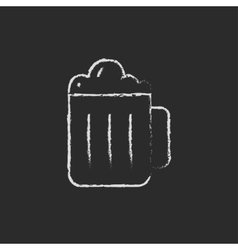 Mug of beer icon drawn in chalk vector