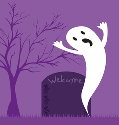 Ghost grave with the word welcome vector