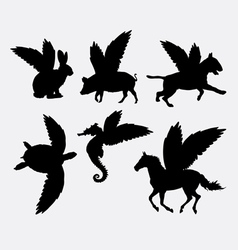 Animal with wings silhouette vector