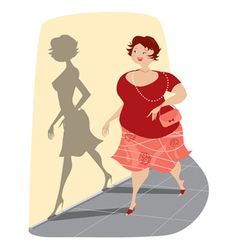 slimming lady and her shadow vector image