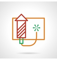 Red firework rocket simple color line icon vector