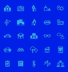 Retirement community blue line icons vector