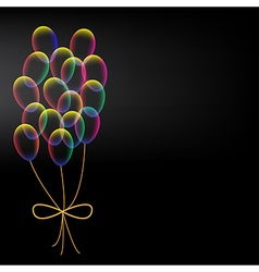 Vibrant colorful balloons with bow vector