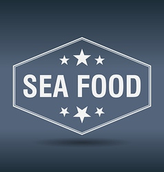 Sea food hexagonal white vintage retro style label vector
