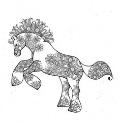 antistress linear page with horse zentangle vector image