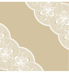 Beige background with two white lacy corners vector