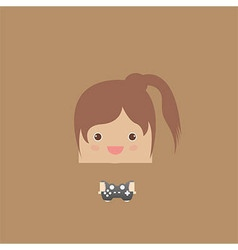 Cartoon doodle lady rectangle play games vector