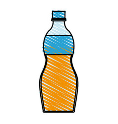 Color crayon stripe cartoon plastic bottle with vector