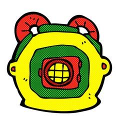 Comic cartoon old deep sea diver helmet vector