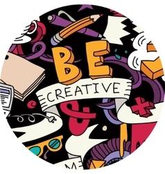 Creative pen idea doodles symbol round color vector image vector image