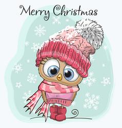 cute cartoon owl in a hat vector image