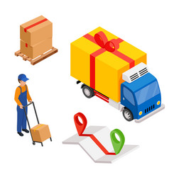 Delivery cargo with map and pins delivery worker vector