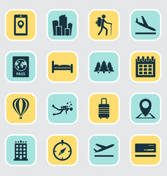 Exploration icons set with doss guide aircraft vector