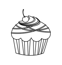 Figure muffin with chocolate and cherry vector