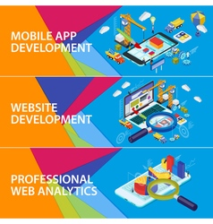 Flat 3d isometric smartphone and laptop vector image vector image