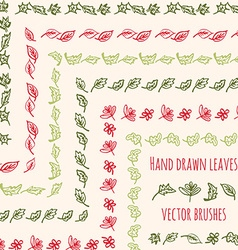 hand drawn leaves brushes vector image