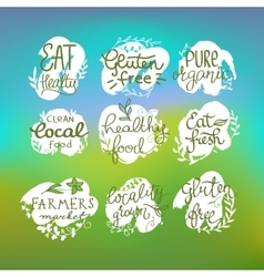 Healty food lettering set vector