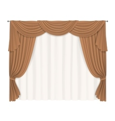 Heavy beige curtains vector