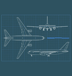 Industrial blueprint of airplane outline vector