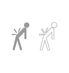 man a with sick back backache icon grey set vector image