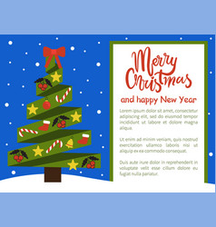 merry christmas happy new year poster withtree vector image
