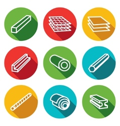 Metallurgy products flat icons collection vector