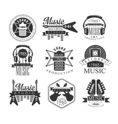 Music record studio black and white emblems vector