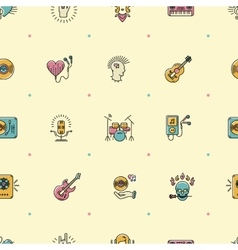 Music seamless pattern Rock punk jazz background vector image
