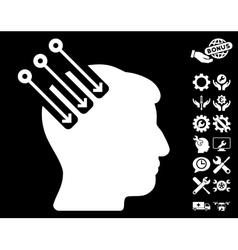 Neuro interface icon with tools bonus vector