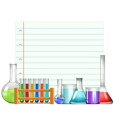 Paper design with beakers and testtubes vector