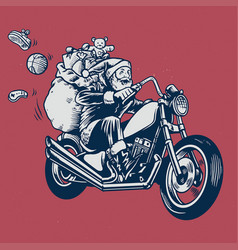 santa claus ride a motorcycle with bunch of vector image vector image