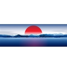 Sea mountains and red sun vector
