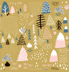 seamless pattern with bunny forest elements and vector image vector image