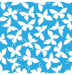Seamless white flying butterflies pattern vector image
