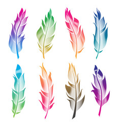 set of stylized bird feathers linear vector image