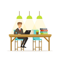 Smiling businessman in a suit working with laptop vector