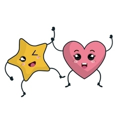 Star and heart kawaii characters vector
