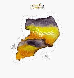 Travel around the world uganda watercolor map vector