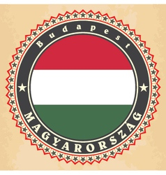 Vintage label cards of hungary flag vector