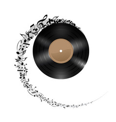 Vinyl disc with music notes flying out in spiral vector