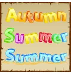 Words summer and autumn the colored letters vector
