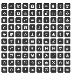 100 love icons set black vector