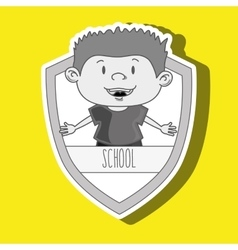 Student on school shield isolated icon design vector