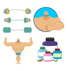 Fitness set Bodybuilder and sports nutrition vector image
