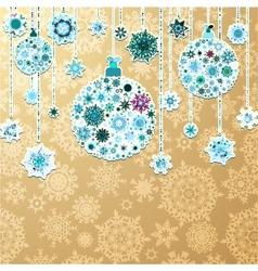 Christmas gold background with baubles EPS 10 vector image