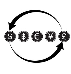 Money convert icon euro dollar flat design style vector