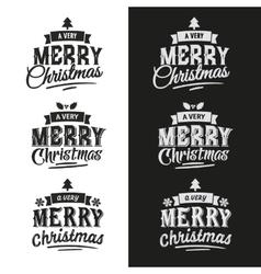 Christmas set of typographic design vector